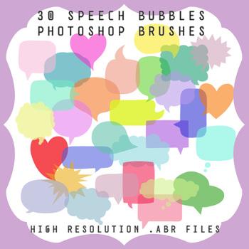 Photoshop Brushes: 30 Speech Bubbles