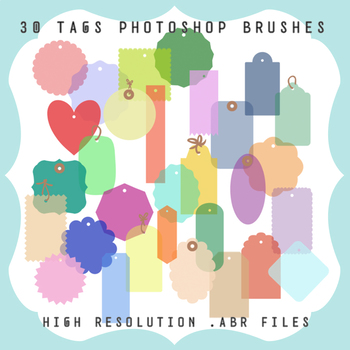 Photoshop Brushes: 30 Tags + Ribbons and Ring