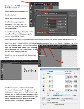 Photoshop Elements Intro Unit Lesson 1: How to Create a New Doc and Save