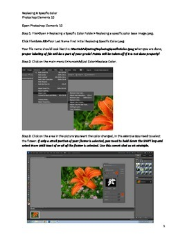 Photoshop Elements Intro Unit Lesson 3: How to Replace a Specific Color