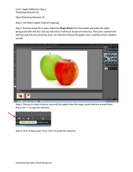 Photoshop Elements Unit 1 Apples Step 1 with base image