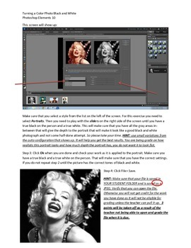 Photoshop Elements Unit 2 Andy Warhol Step 1 Color to BW