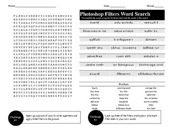Photoshop Filters Word Search/Unscramble Activity