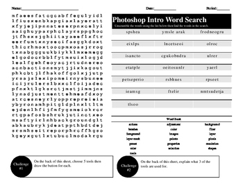 Photoshop Introduction Word Search/Unscramble Activity