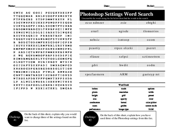 Photoshop Settings Word Search/Unscramble Activity