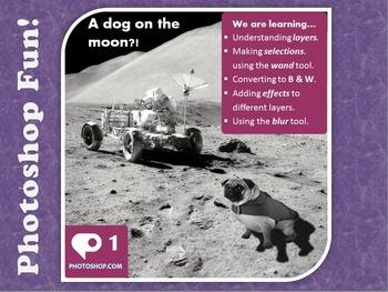 Photoshop Tutorial 1 - Dog on the Moon (selection, transfo