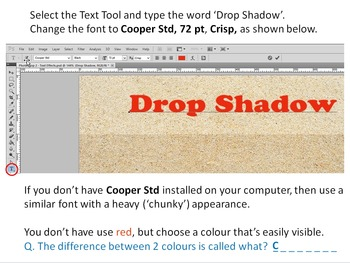 Photoshop Tutorial 2 - Text Effects (selection, effects, contrast, measurements)