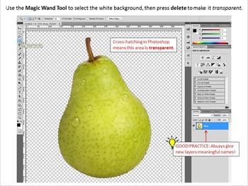 Photoshop Tutorial 3 – Cartoon Fruit (selection, inverse, wand, pen layers)