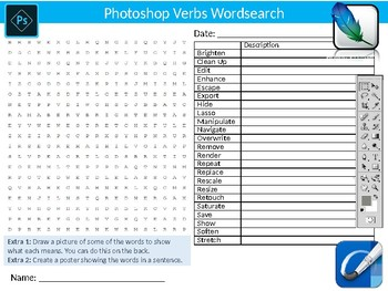 Photoshop Verbs Wordsearch Sheet Starter Activity Keywords ICT Computing