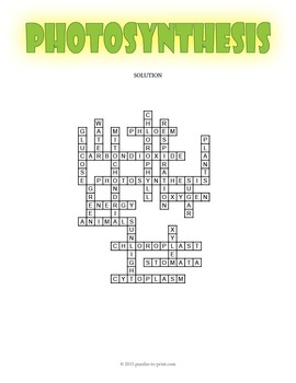 photosynthesis crossword puzzle A crossword puzzle that features vocabulary words for a unit on photosynthesis the definitions are given as the clues and students must fill in the words in the crossword.