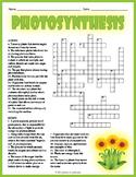 PHOTOSYNTHESIS Crossword Puzzle Worksheet Activity