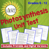 Photosynthesis Unit Test