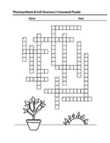 Photosynthesis, Cell Structure,Science, crossword puzzle,