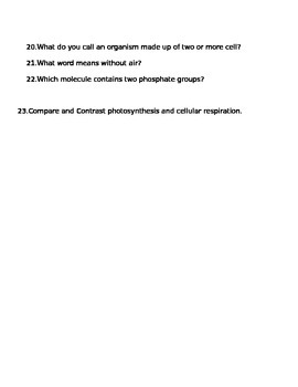 Photosynthesis & Cellular Respiration Study Guide