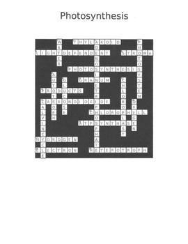 Photosynthesis Crossword Vocab Review