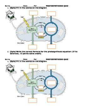 Photosynthesis Diagram Quiz