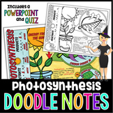 PHOTOSYNTHESIS SCIENCE DOODLE NOTES, INTERACTIVE NOTEBOOK, MINI ANCHOR CHART