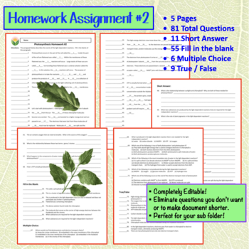 photosynthesis homework #1 amy brown science
