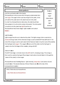 Photosynthesis Homework Review Worksheet- Middle and High School Biology
