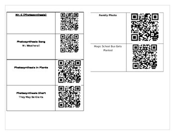 Photosynthesis QR Code/IPAD activity