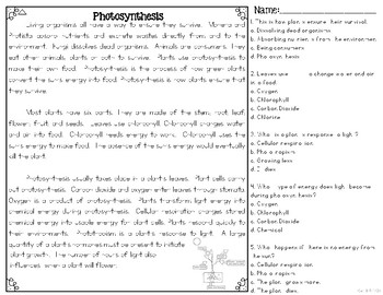 Photosynthesis Informational & Nonfiction Text & Comprehension