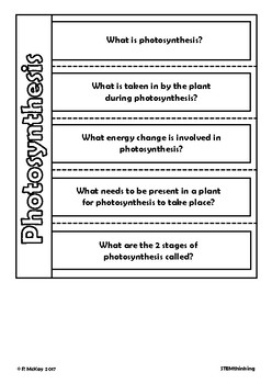Photosynthesis Interactive Notebook Foldables, Middle, High School Biology