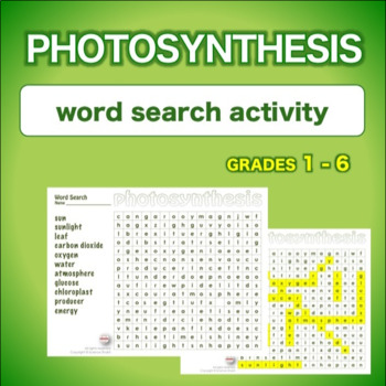 Photosynthesis - Introduction * WordSearch * Vocabulary*