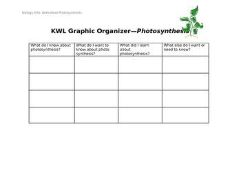 Photosynthesis KWL Organizer
