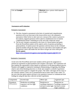 Photosynthesis Lesson Plan & Experiment
