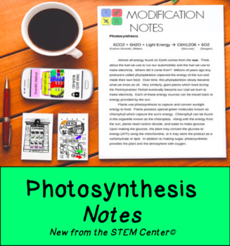 Photosynthesis Notes: Great for 504's & IEP's