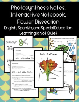 Photosynthesis Notes, Parts of a Flower Dissection, Int Ntbk (English, Spanish)