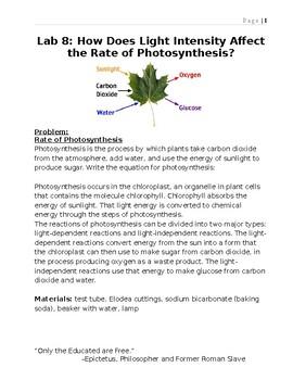 Photosynthesis- Oxygen produced using elodea.