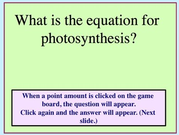 Photosynthesis Jeopardy Game