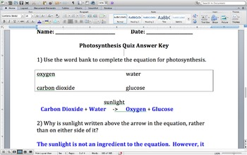 Photosynthesis Quiz for Students