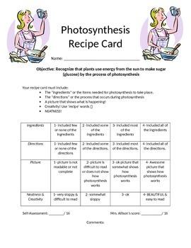 Photosynthesis Recipe Card