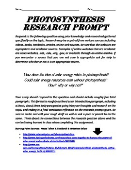 Photosynthesis Research Prompt