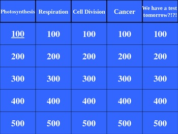 Photosynthesis, Respiration, Cell Division and Cancer Review Game