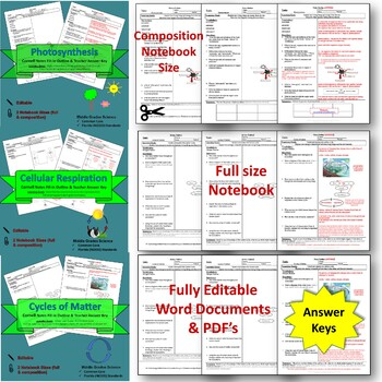 Photosynthesis, Respiration & Cycles Cornell Note Bundle Pack #46-48