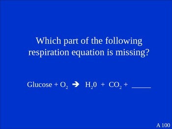 Photosynthesis Respiration Jeopardy Review