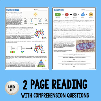 Photosynthesis & Respiration - Reading & Questions