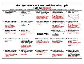 Photosynthesis, Respiration and the Carbon Cycle Bingo Quiz