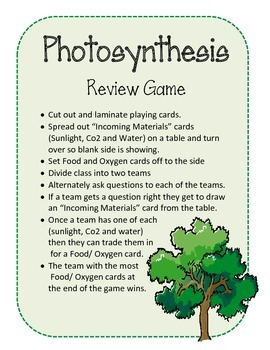 Photosynthesis Review Game.  Science Center
