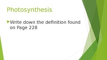 Photosynthesis Step Book PowerPoint