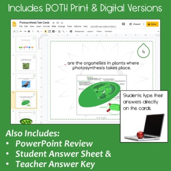 Photosynthesis Task Cards with PowerPoint Review