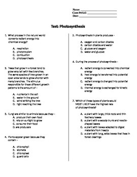 Photosynthesis Test