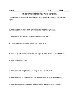 Photosynthesis Video Worksheet (Schlessinger Video)