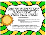 Photosynthesis Vocabulary Fold and Sort