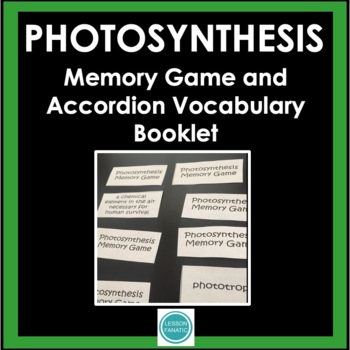 Photosynthesis Vocabulary Memory Game with Word Wall Defin