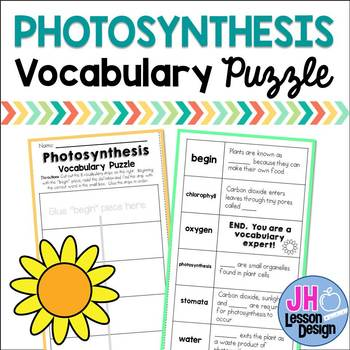 Photosynthesis Vocabulary Puzzle