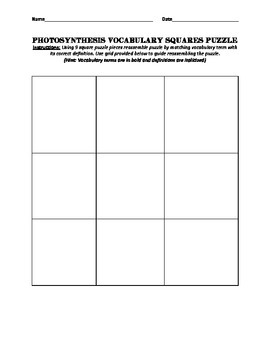 Photosynthesis Vocabulary Squares Puzzle
